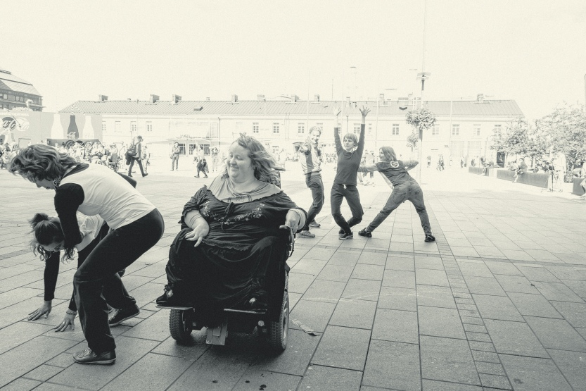 From the Street Parade of the DanceAbility teachers, Helsinki 2015. Photo:Jan Ahlstedt